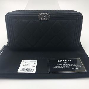 Authentic Chanel Quilted Boy L-Gusset Zip Wallet